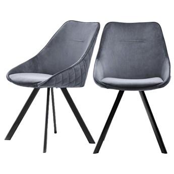 SELSEY Zestaw dwóch krzeseł tapicerowanych Jarel szare pikowane