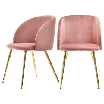 SELSEY Zestaw dwóch krzeseł tapicerowanych Gary różowe na złotej podstawie