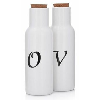 Zestaw 2 butelek do oliwy i octu DUKA OLJA 300 ml biały porcelana