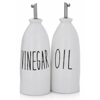 Zestaw 2 butelek do oliwy i octu z nadrukiem DUKA OLJA 450 ml porcelana