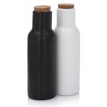 Zestaw 2 butelek do oliwy i octu DUKA OLJA 300 ml biały czarny porcelana