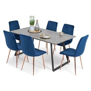 Stół PORTLAND (200/160x90) i 6 krzeseł SOFIA - zestaw do jadalni - szaro-niebieski