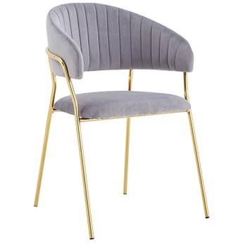 Krzesło Glamour szare C-889 złote nogi, welur