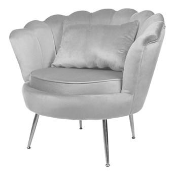 Muszelka fotel szary srebrne nogi - welur
