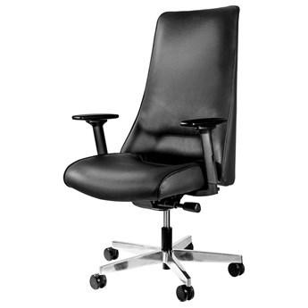 SELSEY Fotel biurowy Sail obrotowy czarny skóra naturalna