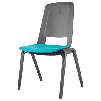 SELSEY Zestaw czterech krzeseł konferencyjnych Fila turkusowo-szare