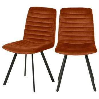 SELSEY Zestaw dwóch krzeseł tapicerowanych Kimmy miedziane na metalowych czarnych nogach