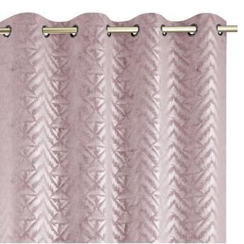 Zasłony na przelotkach BLACKOUT Velvet z metalizowanym nadrukiem Glamour Gęsty splot Różowe 140x250 cm REVIVAL