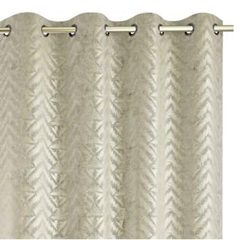 Zasłony na przelotkach BLACKOUT Velvet z metalizowanym nadrukiem Glamour Gęsty splot Kremowe 140x250 cm REVIVAL