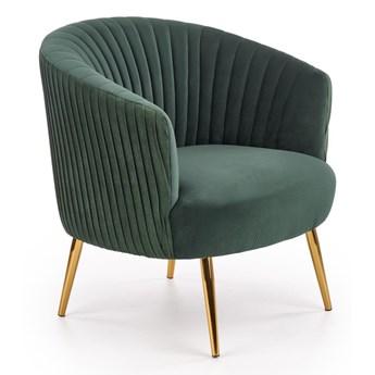 Elegancki fotel na złotych nóżkach Pikowany Zielony Welur CAMILLE