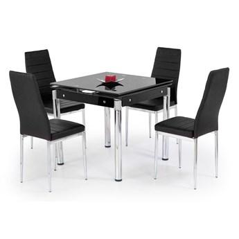 Rozkładany stół do jadalni i salon Czarny Szklany blat RENO