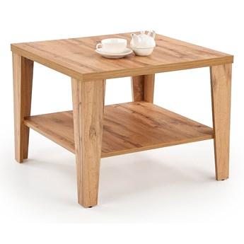 Dwustopniowy stolik kawowy do salonu Kwadratowy Miodowy Brąz KONI