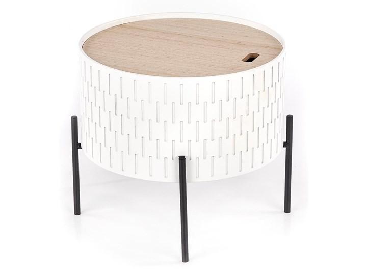 Nowoczesny stolik kawowy ze schowkiem do salonu Biało-czarny IWATE Stal Drewno Wysokość 35 cm Płyta MDF Kształt blatu Okrągłe