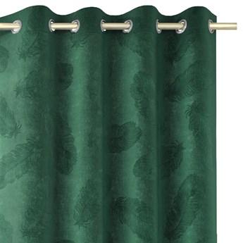 Zasłony welwetowe tłoczone na przelotkach Dekoracyjne 135x250 cm Ciemna Zieleń PAONNE
