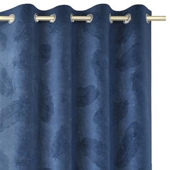 Zasłony welwetowe tłoczone na przelotkach Dekoracyjne 135x250 cm Granatowe PAONNE