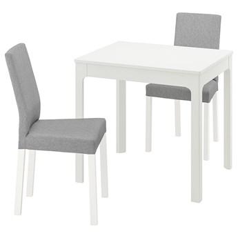 IKEA EKEDALEN / KÄTTIL Stół i 2 krzesła, biały/Knisa jasnoszary, 80/120 cm
