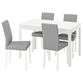 IKEA EKEDALEN / KÄTTIL Stół i 4 krzesła, biały/Knisa jasnoszary, 120/180 cm