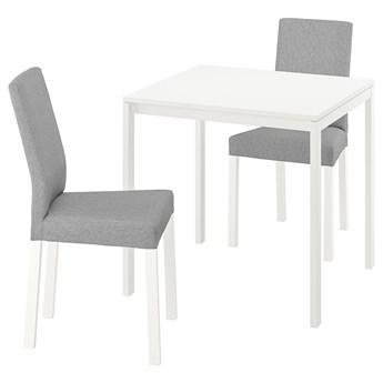 IKEA MELLTORP / KÄTTIL Stół i 2 krzesła, biały/Knisa jasnoszary, 75 cm