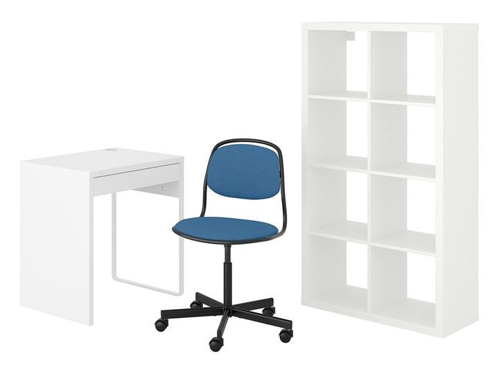 IKEA MICKE/ÖRFJÄLL / KALLAX Kombinacja biurko/szafka, i krzesło obrotowe biały/niebieski/czarny