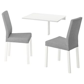 IKEA NORBERG / KÄTTIL Stół i 2 krzesła, biały/Knisa jasnoszary, 74 cm