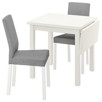 IKEA NORDVIKEN / KÄTTIL Stół i 2 krzesła, biały/Knisa jasnoszary, 74/104 cm