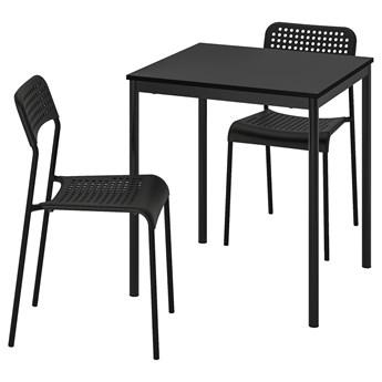 IKEA SANDSBERG / ADDE Stół i 2 krzesła, czarny/czarny, 67x67 cm