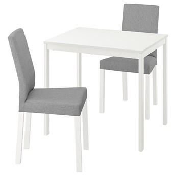 IKEA VANGSTA / KÄTTIL Stół i 2 krzesła, biały/Knisa jasnoszary, 80/120 cm