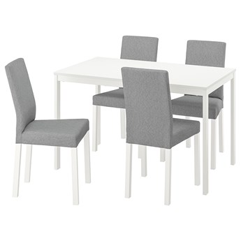 IKEA VANGSTA / KÄTTIL Stół i 4 krzesła, biały/Knisa jasnoszary, 120/180 cm