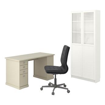 IKEA VEBJÖRN/MULLFJÄLLET / BILLY/OXBERG Kombinacja biurko/szafka, i krzesło obrotowe beżowy/szary-biały