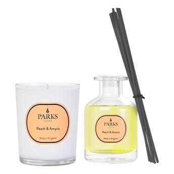 Zestaw świeczki i dyfuzora o zapachu brzoskwini i Amyrisa, Parks Candles London, 4 tygodnie