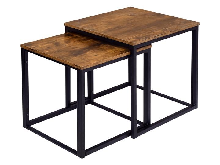 Zestaw stolików Praven Płyta meblowa Wysokość 50 cm Wysokość 45 cm Styl Vintage Metal Stal Styl Industrialny