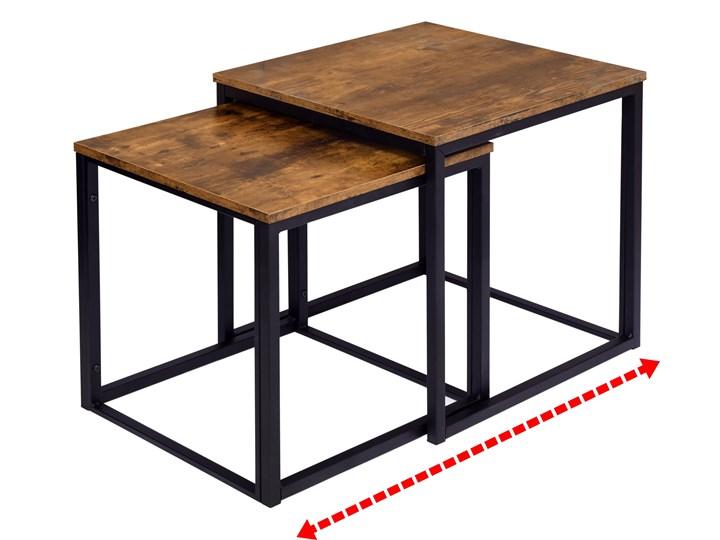 Zestaw stolików Praven Metal Wysokość 45 cm Wysokość 50 cm Płyta meblowa Stal Styl Vintage