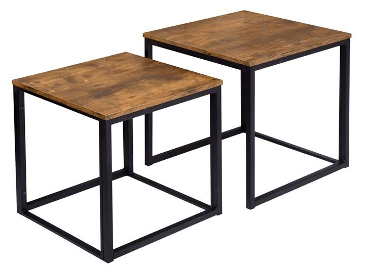 Zestaw stolików Praven Wysokość 50 cm Stal Metal Wysokość 45 cm Płyta meblowa Styl Vintage Kategoria Stoliki i ławy