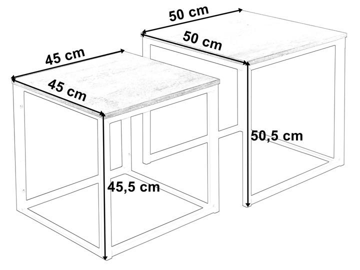 Zestaw stolików Praven Metal Wysokość 50 cm Kategoria Stoliki i ławy Płyta meblowa Stal Wysokość 45 cm Kształt blatu Kwadratowe