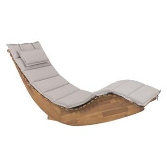 Leżanka ogrodowa jasne drewno akacjowe leżak z poduszką brązowoszarą na taras balkon