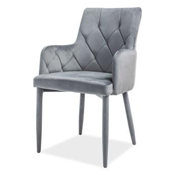 SELSEY Krzesło tapicerowane Dana szare aksamitne