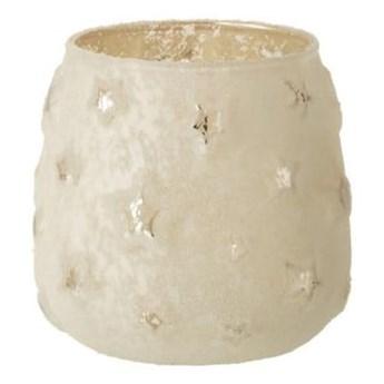 Biały szklany świąteczny świecznik J-Line Star
