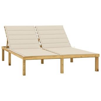 vidaXL Leżak podwójny z kremowymi poduszkami impregnowana sosna