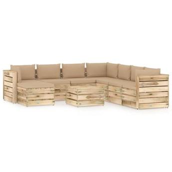 vidaXL 9-cz. zestaw wypoczynkowy do ogrodu, z poduszkami, drewniany