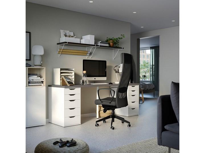 IKEA LAGKAPTEN / ALEX Biurko, Ciemnoszary/biały, 200x60 cm Szerokość 200 cm Płyta MDF Biurko tradycyjne Stal Pomieszczenie Pokój nastolatka