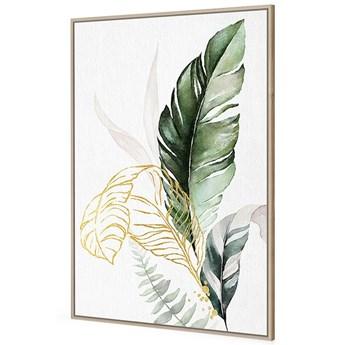 Obraz złoto zielone liście II 82,6x122,6