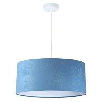 Welurowy abażur Angarika - błękitna lampa wisząca do salonu, sypialni (kolekcja - Standard, 1xE27) ręcznie robiona, Błękitny / Biały / 50cm