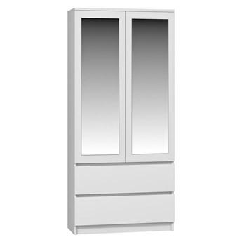 Biała minimalistyczna szafa z lustrem - Figra