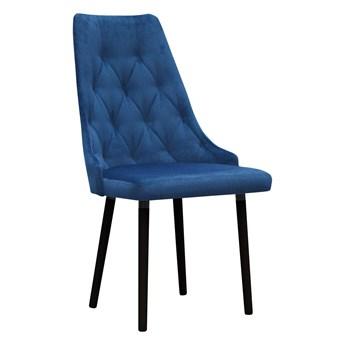Krzesło Tapicerowane w kolorze granatowym pikowane Kronos