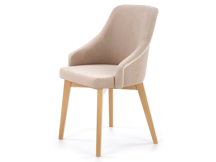 Krzesło drewniane nowoczesne do jadalni Jasny beż CAMILLA Głębokość 57 cm Drewno Szerokość 57 cm Tapicerowane Tworzywo sztuczne Tkanina Krzesło inspirowane Styl Glamour