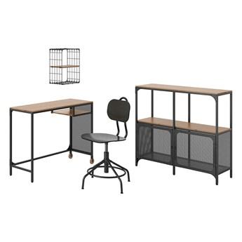 IKEA FJÄLLBO/KULLABERG / GULLHULT Kombinacja biurko/szafka, i krzesło obrotowe czarny/sosna
