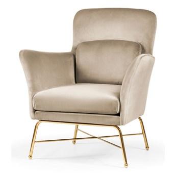 Fotel beżowy aksamit / złote nogi / REVA