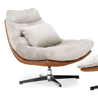 Fotel obrotowy MUTTO z podnóżkiem/ beżowy velvet