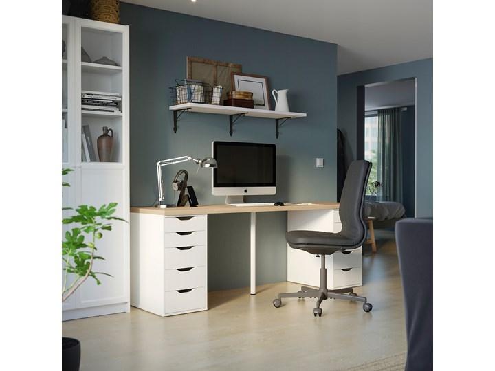 IKEA LAGKAPTEN / ALEX Biurko, Dąb bejcowany na biało/biały, 200x60 cm Płyta MDF Stal Szerokość 200 cm Biurko tradycyjne Pomieszczenie Pokój przedszkolaka Kolor Beżowy