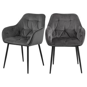 SELSEY Zestaw dwóch krzeseł tapicerowanych z podłokietnikami Agamos ciemnoszary welur na metalowych nóżkach